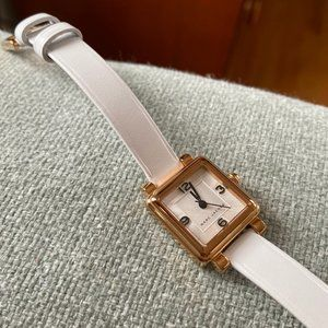 Marc Jacoby square watch white leather strap